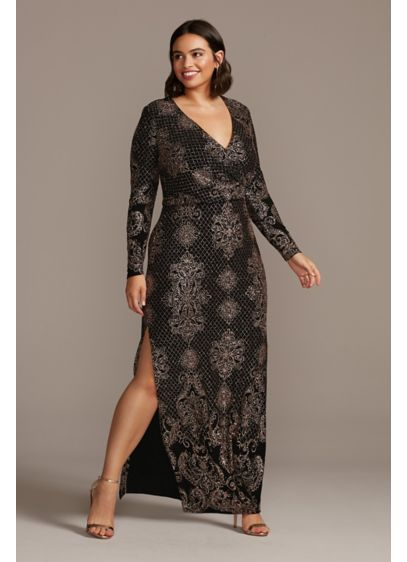 Glitter Print Bodycon Long Sleeve Plus Size Dress - An opulent glitter brocade pattern, framed with a