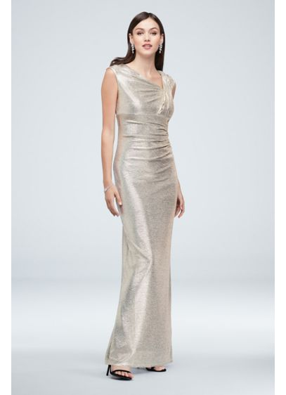 Metallic Asymmetrical Stretch-Knit Gown with Slit - Channel a Greek goddess in this stunning metallic