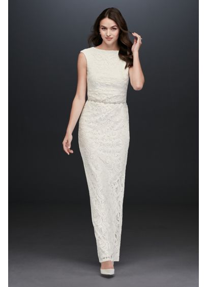 Lace Sheath Dress with Back Slit - You'll be breathtaking in this cap sleeve lace