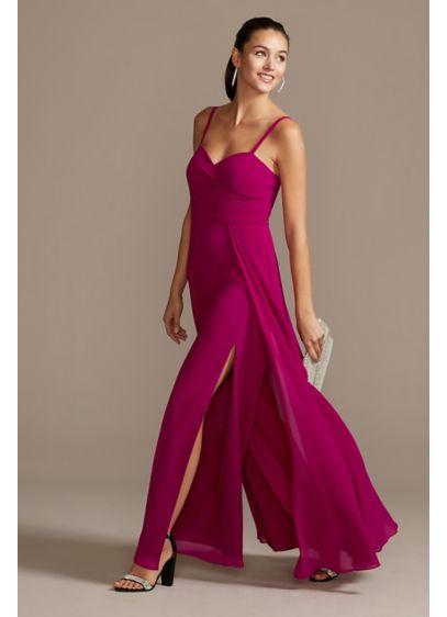 Slit Wide-Leg Chiffon Jumpsuit - Make your entrance a wow moment in this