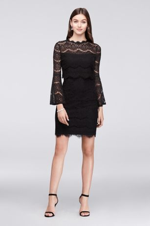 Bell Sleeve Short Lace Dress With Illusion Waist Davids Bridal