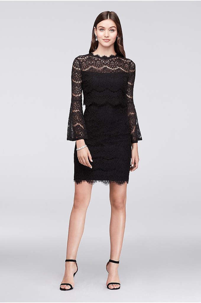 Bell-Sleeve Short Lace Dress with Illusion Waist - Make a cocktail party statement in this lacy,