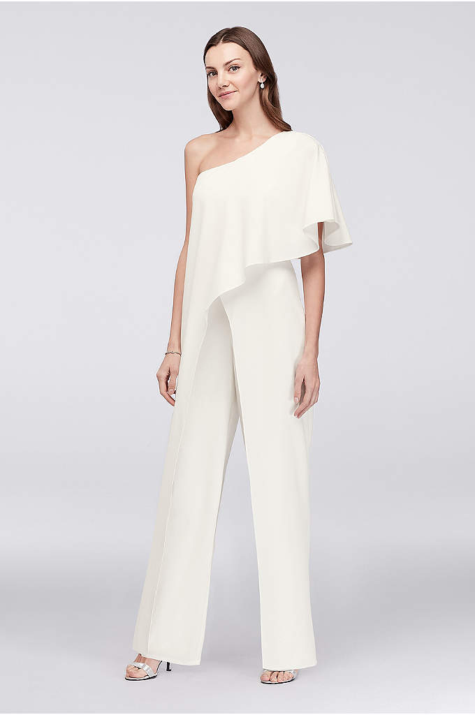 One-Shoulder Crepe Jumpsuit with Cascading Flounce - Fluid details transform this crepe jumpsuit into a