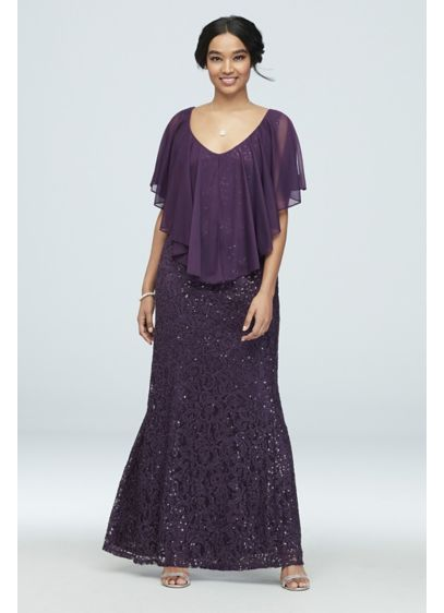 Sequin Lace Gown with Cold Shoulder Capelet - A sheer, handkerchief cut capelet, featuring a cold