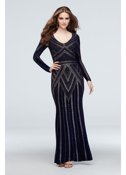 Long Sleeve Glitter Print Sheath Gown - Gold glitter creates a bold deco-inspired pattern on