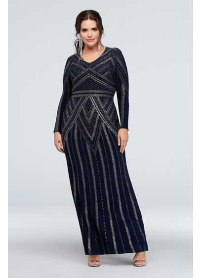 Long Sleeve Glitter Print Plus Size Sheath Gown - Gold glitter creates a bold deco-inspired pattern on