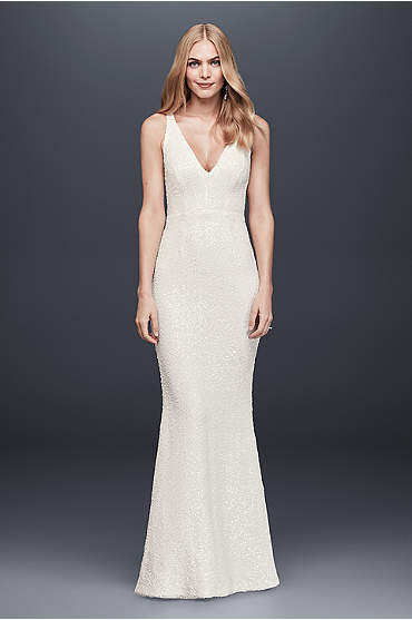 Allover Sequined V-Neck Sheath Gown