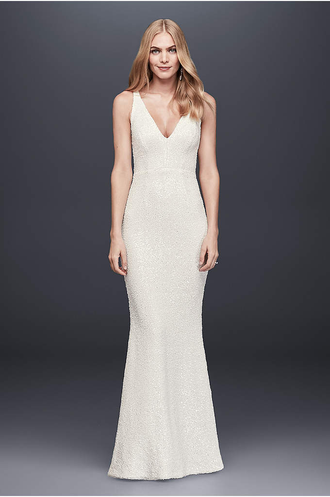 Allover Sequined V-Neck Sheath Gown - Entirely covered in tiny white sequins, this slim