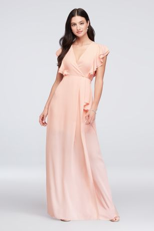 d861fabf6640 Chiffon Bridesmaid Dress with Flutter Sleeve