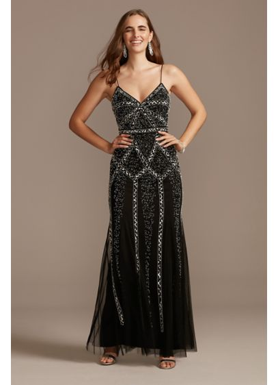 Linear Bead and Sequin Spaghetti Strap Dress - Reminiscent of Art Deco patterns and roaring '20s