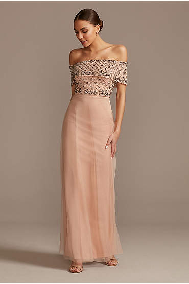Beaded Bodice Mesh Overlay Off Shoulder Gown