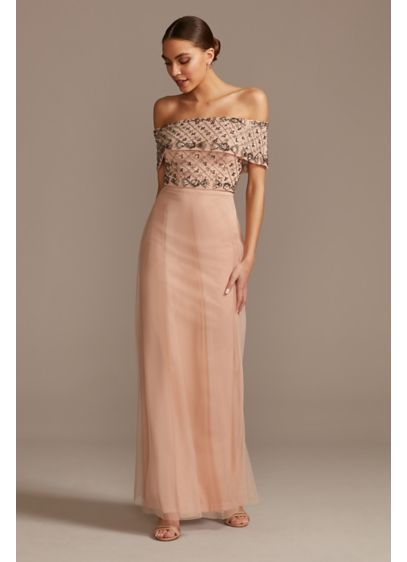 Beaded Bodice Mesh Overlay Off Shoulder Gown - This off the shoulder sheath dress features intricately