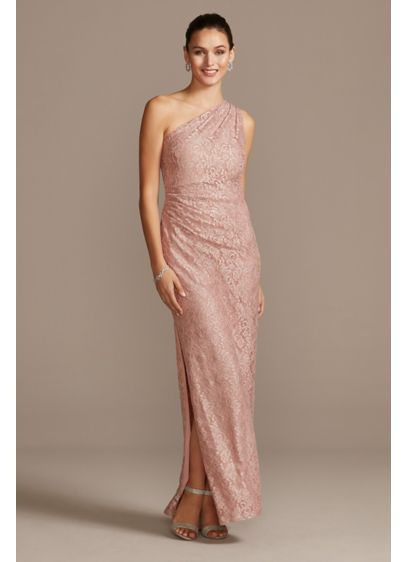 Glitter Lace One Shoulder Gown with Side Slit - Turn heads in this elegant all-lace sheath that's