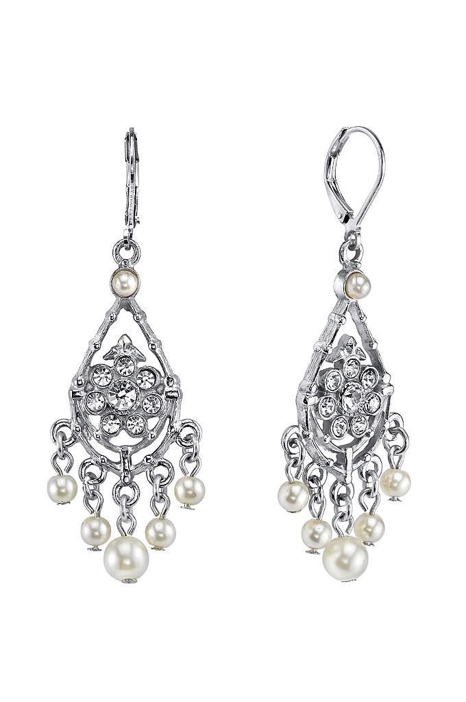 Czech Crystal and Pearl Chandelier Earrings