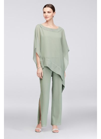 Long Jumpsuit Capelet Cocktail and Party Dress - Le Bos