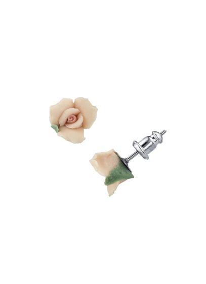 Porcelain Rose Stud Earrings - Wedding Accessories