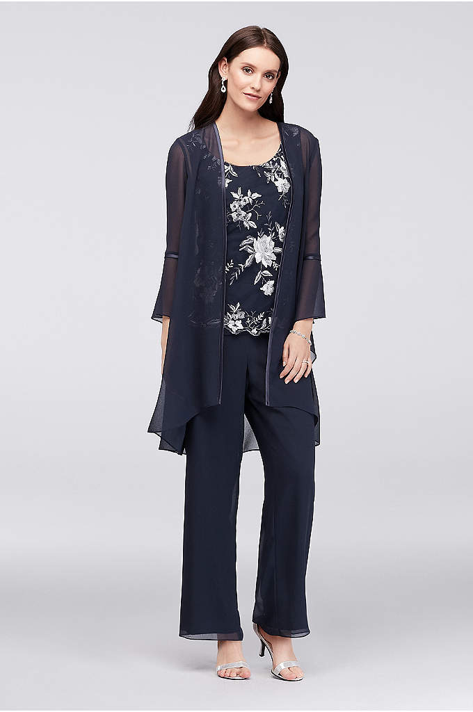 Floral Embroidered Georgette Pantsuit and Jacket - Wear the embroidered tank and georgette pants on