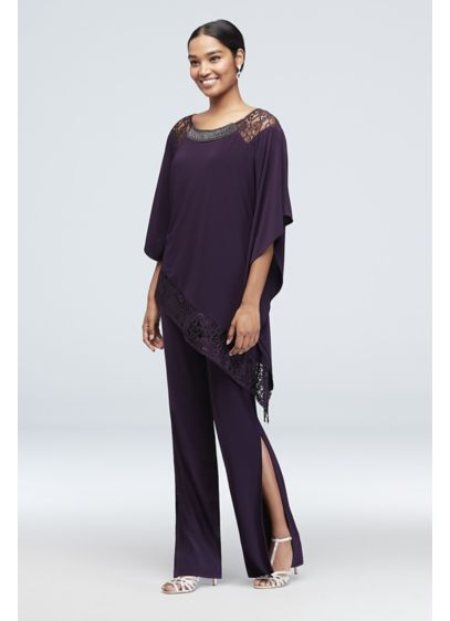 Beaded Poncho Pantsuit with Asymmetrical Hem - Style and comfort come together on this two-piece