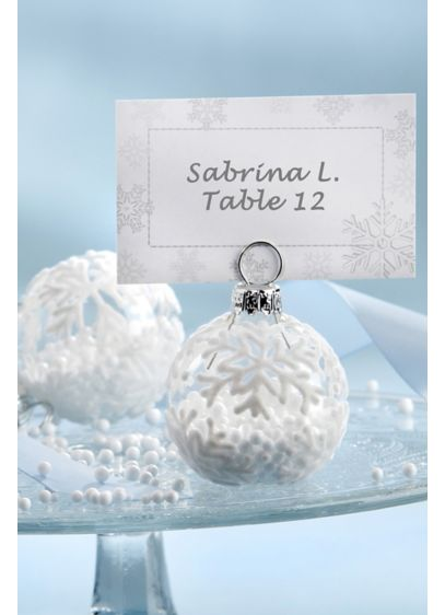 Flocked Glass Snowflake Place Card Photo Holders - Set of 12 Glass, metal 2