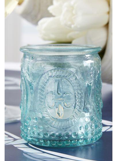 Vintage-Inspired Blue Glass Tea Light Holders - Wedding Gifts & Decorations