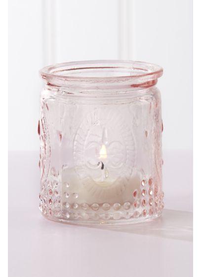 Vintage Pink Glass Tea Light Holder Set of 8 - Wedding Gifts & Decorations
