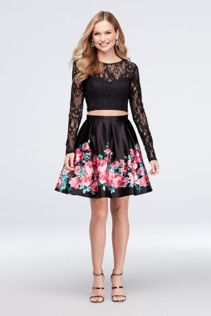 Short Ballgown Long Sleeves Dress - Haute Nites