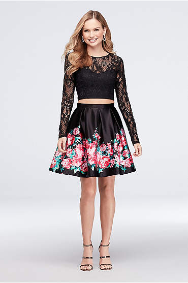 Two-Piece Lace and Printed Satin Dress with Bow
