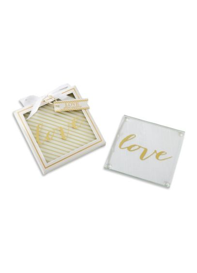 Gold Love Glass Coasters Set of 2 - Wedding Gifts & Decorations