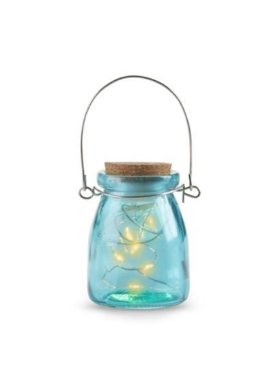 Hanging Blue Jar With Fairy Lights Set of 4 - Wedding Gifts & Decorations