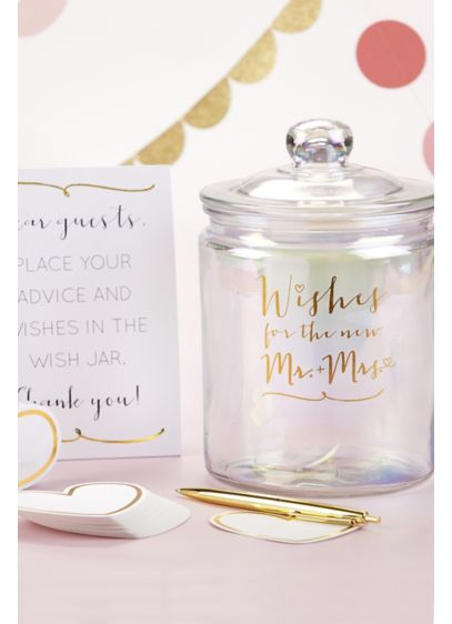 Wishes for the New Mr and Mrs Jar with Heart Cards - Wedding Gifts & Decorations