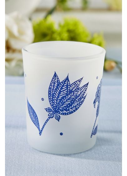 Blue Willow Frosted Glass Votive Set - Wedding Gifts & Decorations