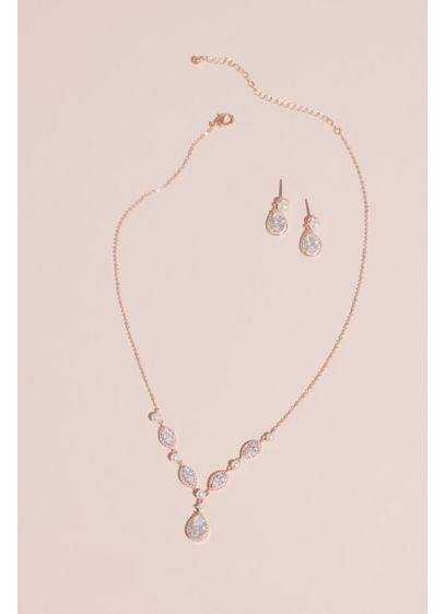 Cubic Zirconia and Pearl Necklace and Earring Set - Wedding Accessories