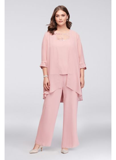 Lace-Detailed Georgette Plus Size Pantsuit - Three-piece ensembles are the stylish-yet-comfortable choice that every