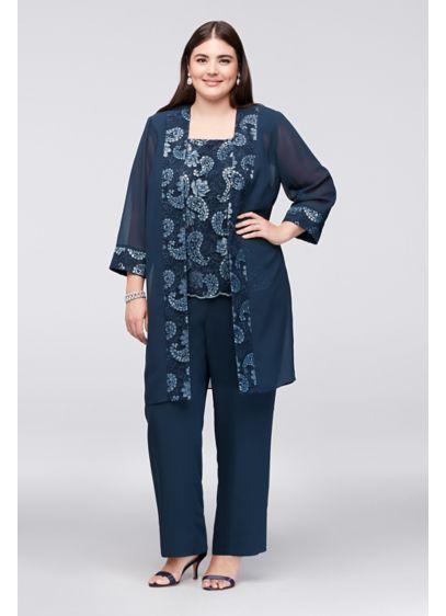 Sequin Embellished Chiffon Plus Size Pantsuit | David\'s Bridal