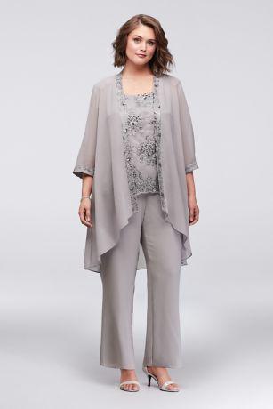 Chiffon Plus Size Pantsuit with Lace-Edged Jacket   David\'s Bridal