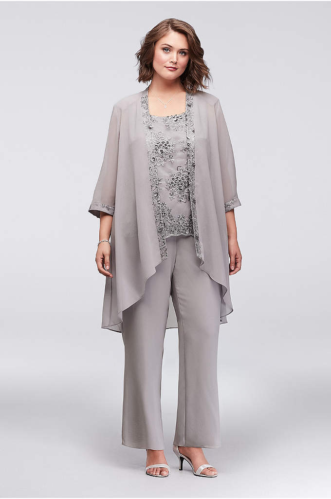 Chiffon Plus Size Pantsuit with Lace-Edged Jacket - For the lady who prefers just a touch
