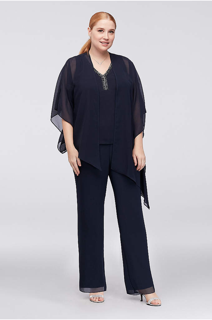 Flowy Asymmetrical Jacket Plus Size Pantsuit - Airy pebbled georgette creates a flowy plus-size pantsuit
