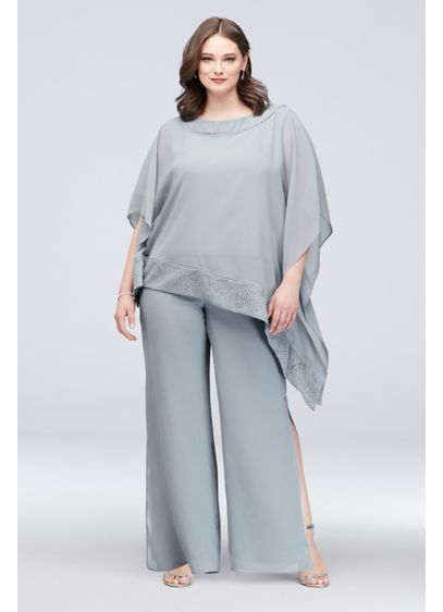 Asymmetric Top Plus Size Pantsuit - Airy georgette creates a chic pantsuit with an