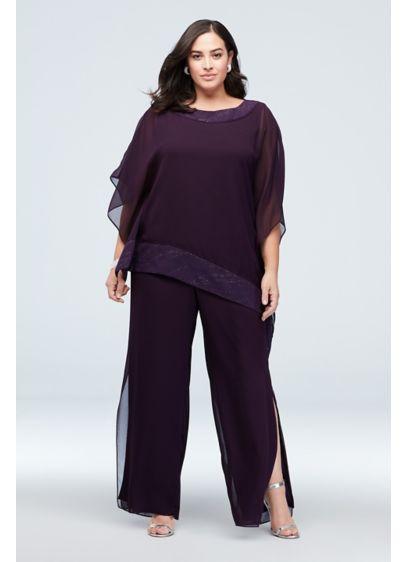 Asymmetric Top Plus Size Pantsuit