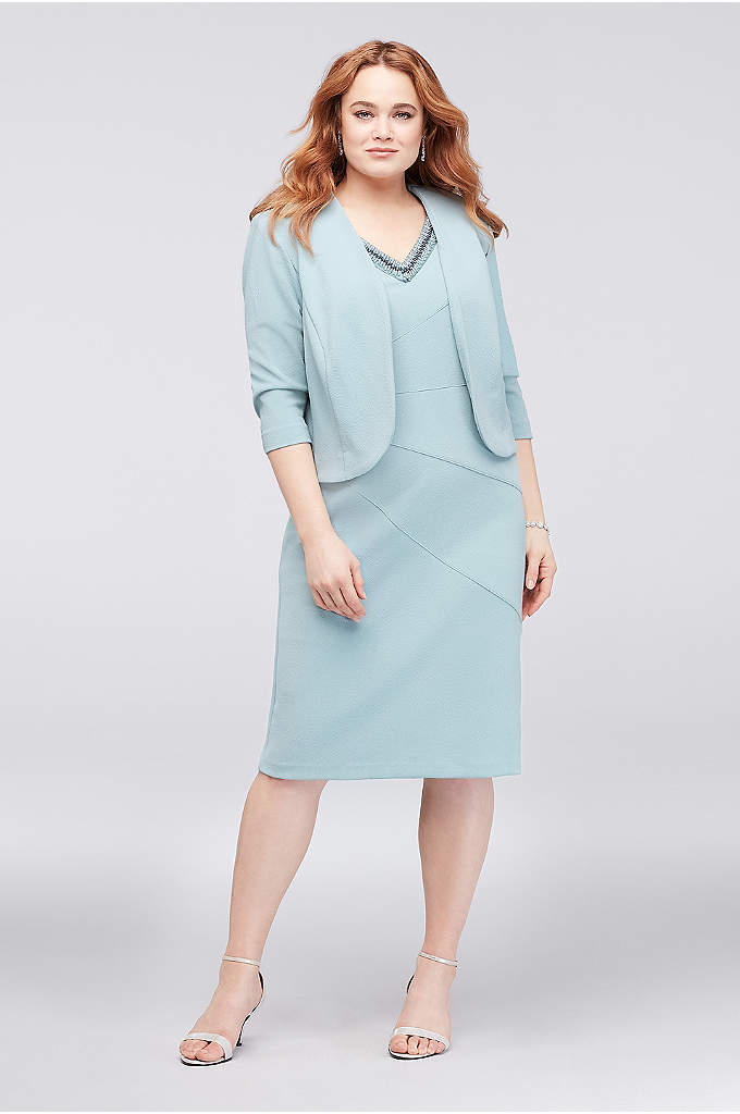 Jacket and Plus Size Dress with Sunburst Seaming - Elegant sunburst seaming gives this sleeveless sheath dress