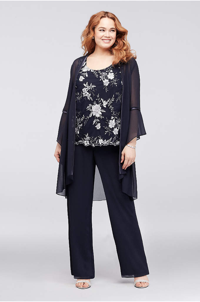 Floral Embroidered Plus Size Pantsuit and Jacket - Wear the embroidered tank and georgette pants on