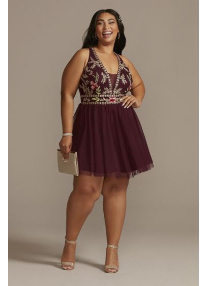Plus Size Halter Mesh Embroidered Mini Dress - Intricately embroidered with flowers, this mini's bodice is