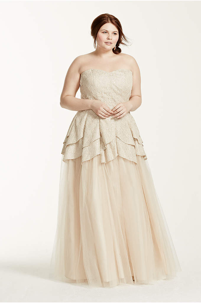 Strapless Metallic Lace Tulip Tulle Prom Dress