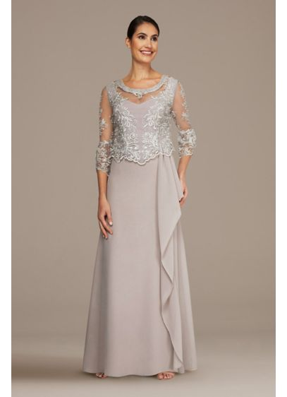 3/4 Sleeve Illusion Overlay Ruffle Chiffon Gown - This elegant dress gets its opulent feel from
