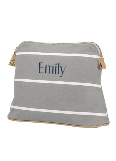 (Personalized Striped Cosmetic Bag)