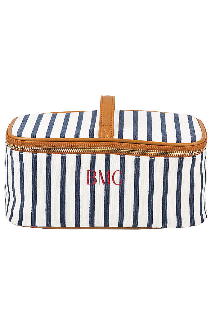 Personalized Striped Cosmetic Case - The Personalized Striped Canvas Cosmetic Case is the