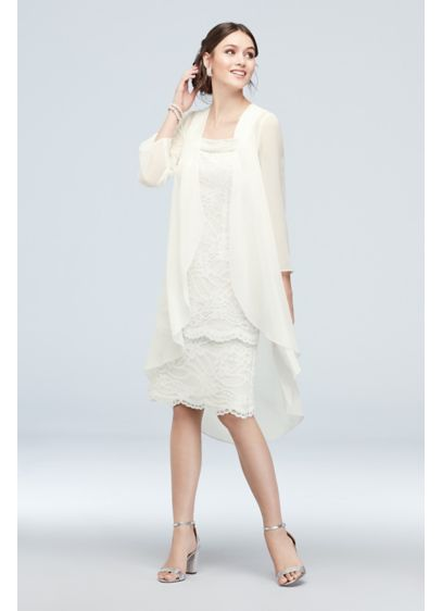 Lace Sheath and Chiffon Waterfall Drape Jacket Set - A sleek, lace knee-length dress is visible beneath