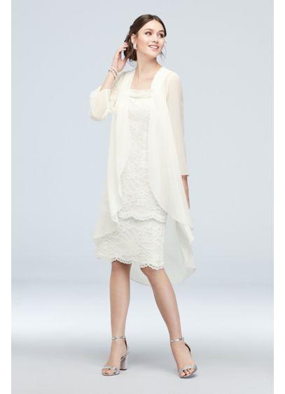Le Bos White (Lace Sheath and Chiffon Waterfall Drape Jacket Set)