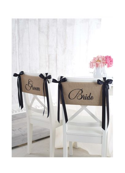 Bride & Groom Burlap Chair Sash Set of 2 - Wedding Gifts & Decorations