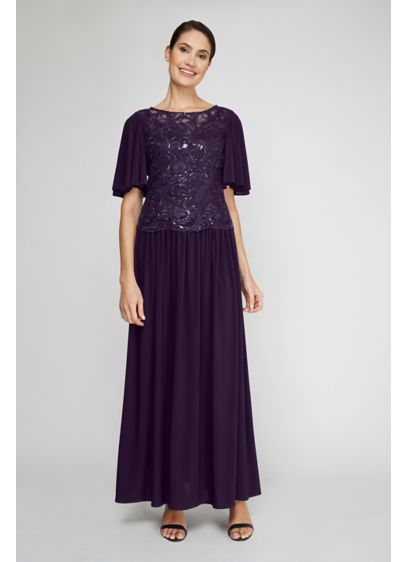 Flutter Sleeve Sequin Lace Flowy Dress - Perfect for any special occasion, you'll look pretty